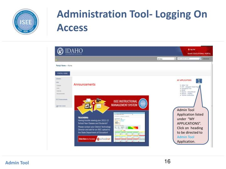 Administration Tool- Logging On