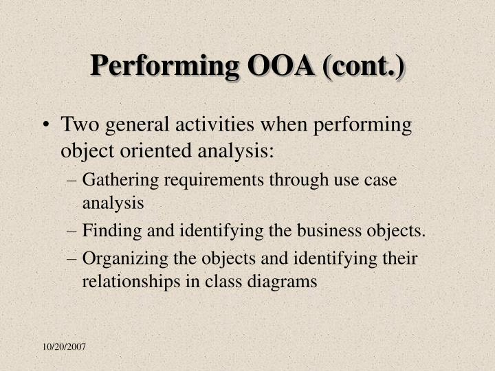 Performing OOA (cont.)