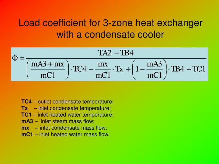 Load coefficient for 3-zone heat exchanger with a condensate cooler