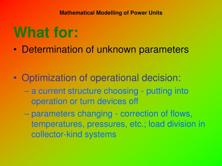 Mathematical modelling of power units1