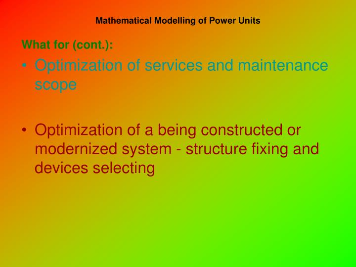 Mathematical modelling of power units2