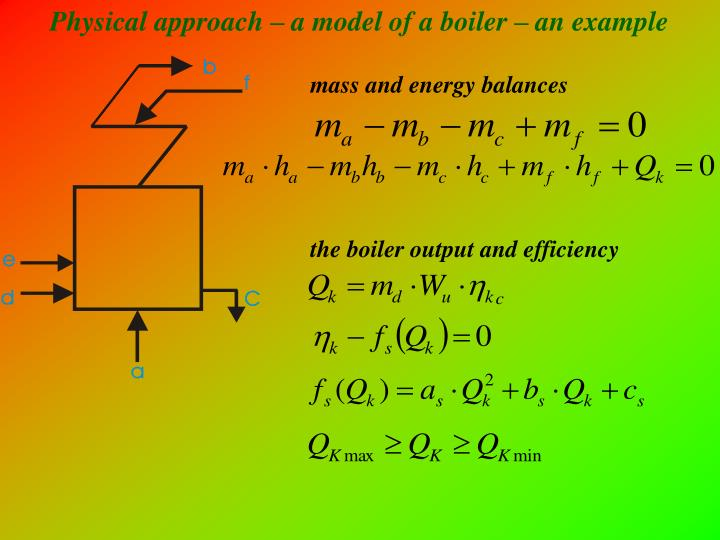 Physical approach – a model of a boiler – an example