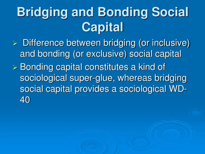 Bridging and Bonding Social Capital