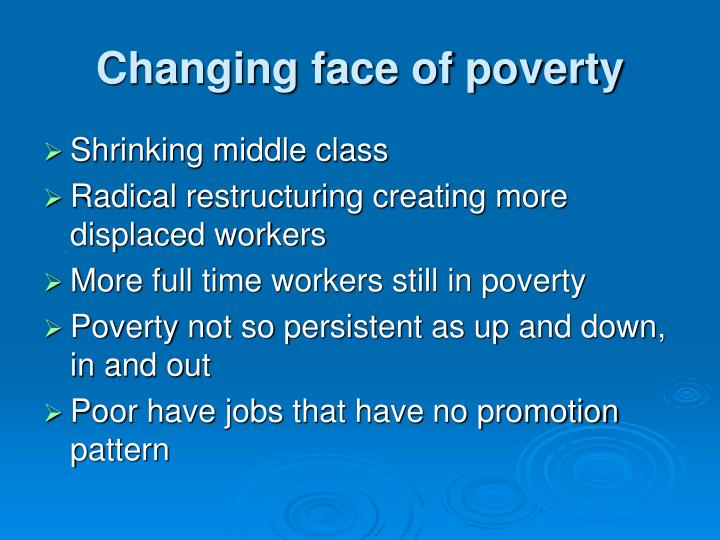 Changing face of poverty