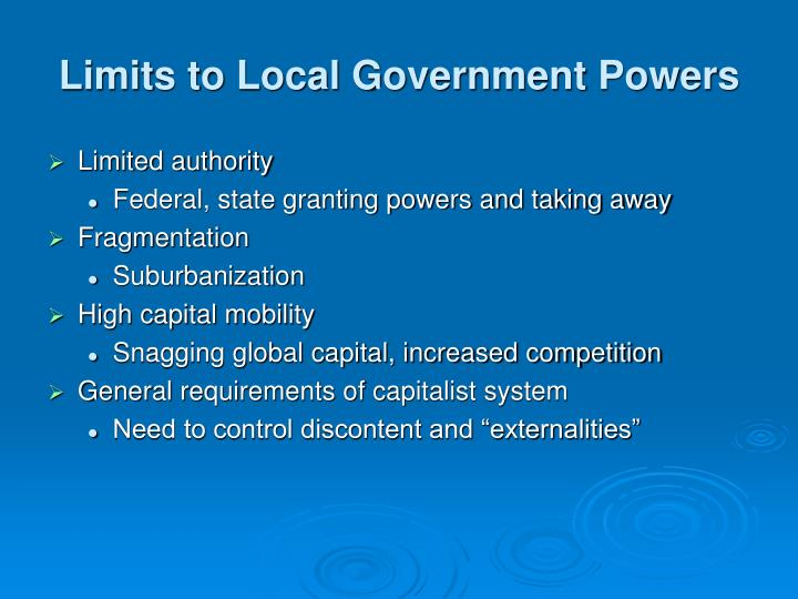 Limits to Local Government Powers