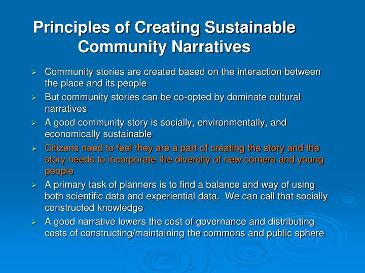 Principles of Creating Sustainable Community Narratives