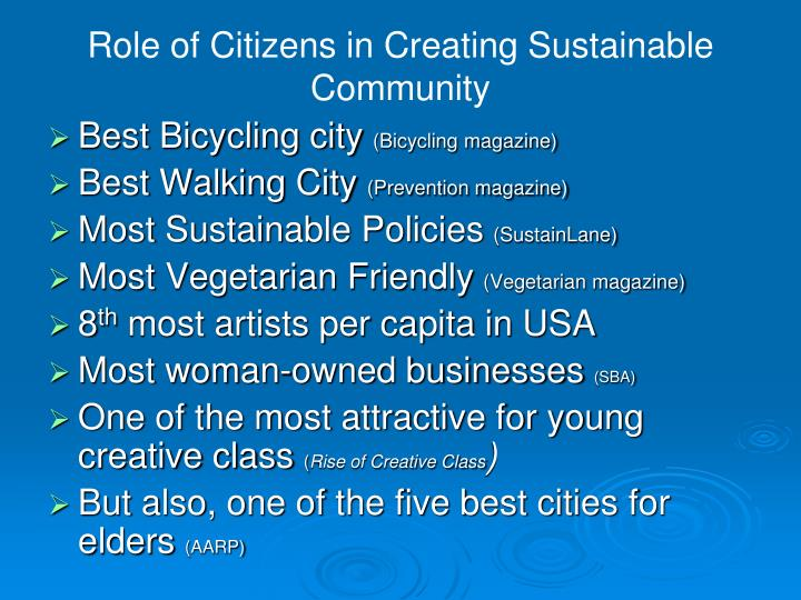 Role of Citizens in Creating Sustainable Community