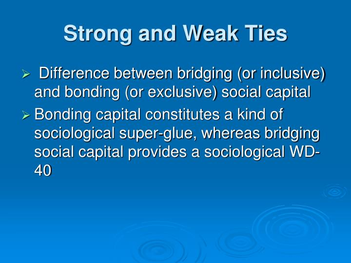 Strong and Weak Ties