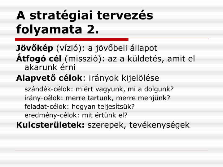 A stratégiai tervezés folyamata 2.