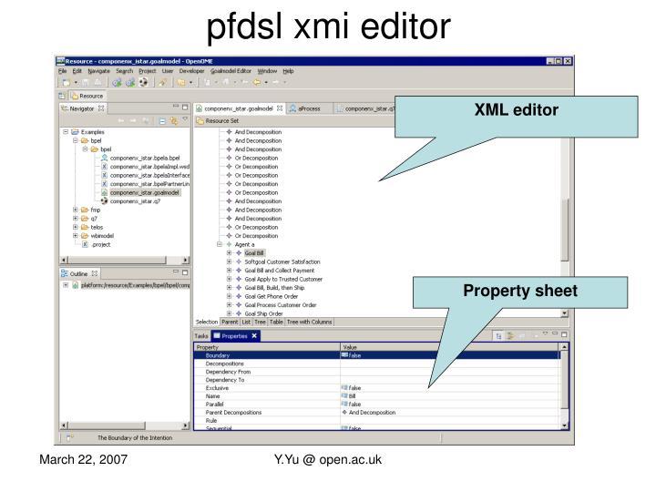 pfdsl xmi editor