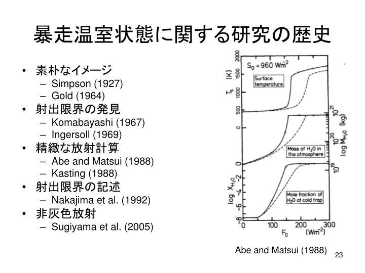 暴走温室状態に関する研究の歴史