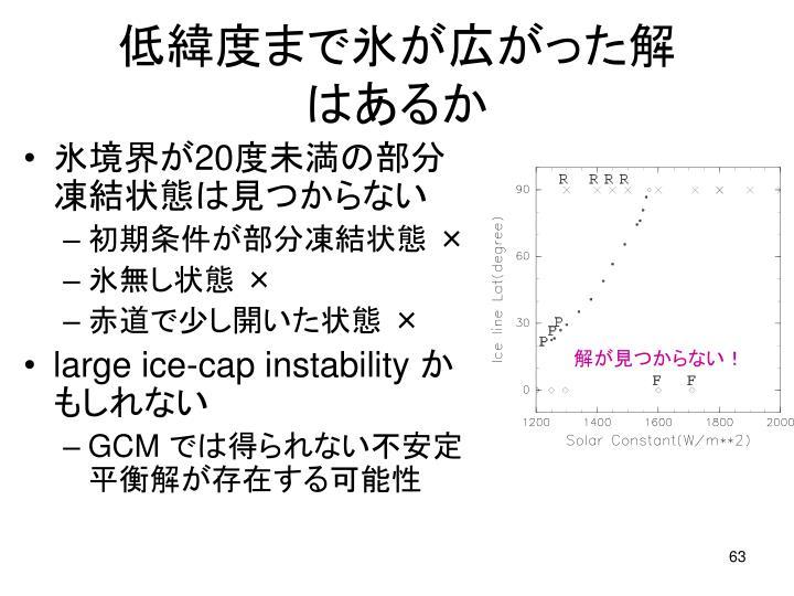 低緯度まで氷が広がった解