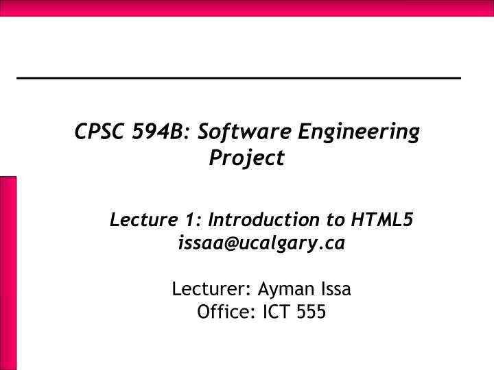 Cpsc 594b software engineering project