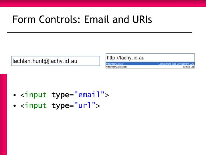 Form Controls: Email and URIs