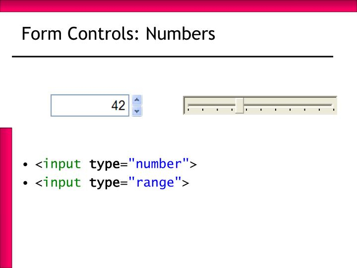 Form Controls: Numbers