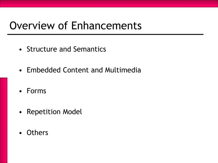 Overview of Enhancements