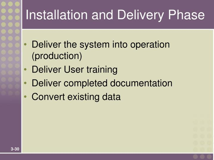 Installation and Delivery Phase