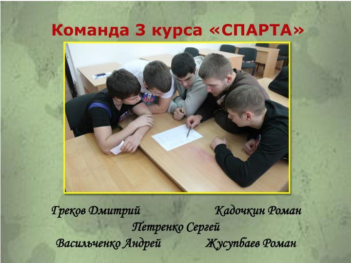 Команда 3 курса «СПАРТА»