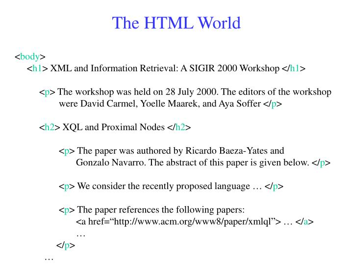 The HTML World