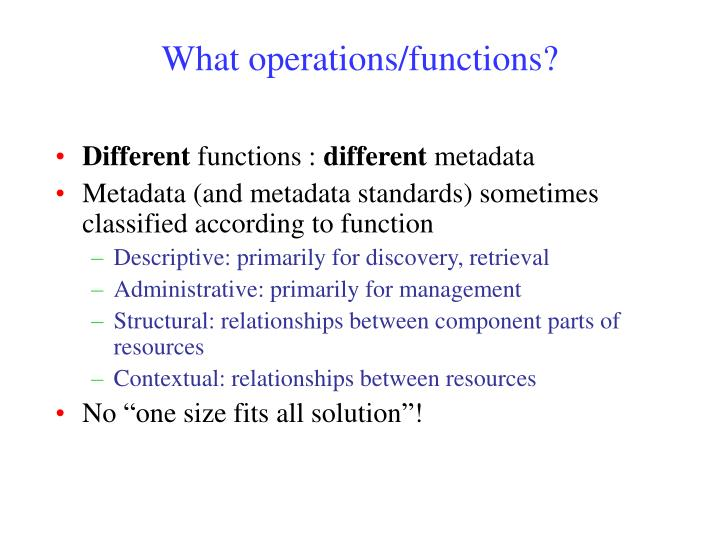 What operations/functions?
