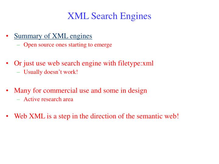XML Search Engines