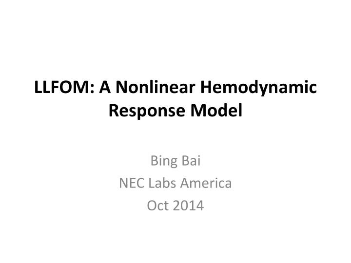 Llfom a nonlinear hemodynamic response model