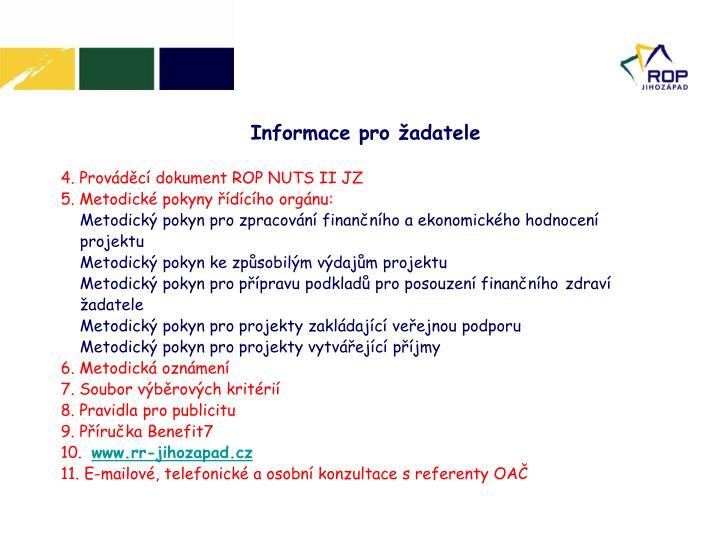 4. Prováděcí dokument ROP NUTS II JZ
