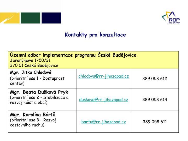 Kontakty pro konzultace