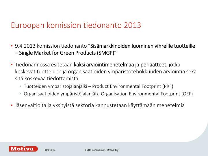 Euroopan komission tiedonanto 2013