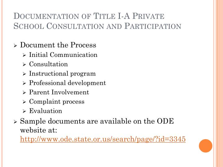 Documentation of Title I-A Private School Consultation and Participation