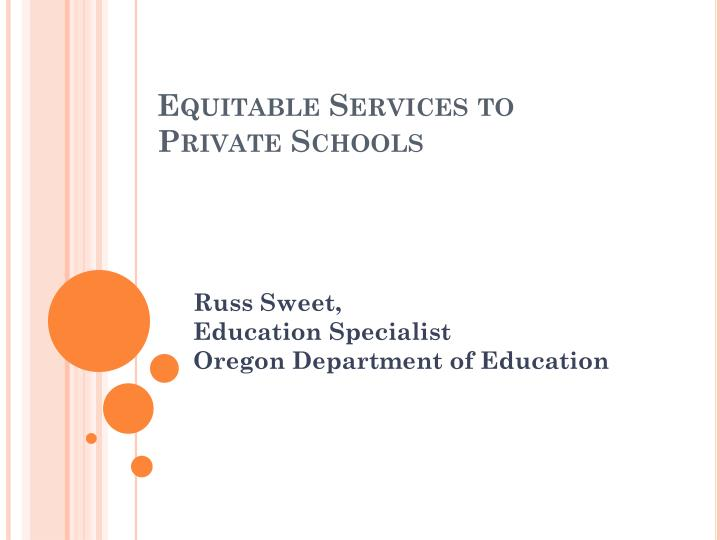 Equitable services to private schools
