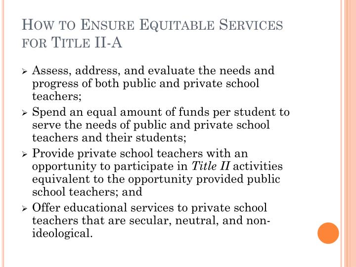 How to Ensure Equitable Services for Title II-A