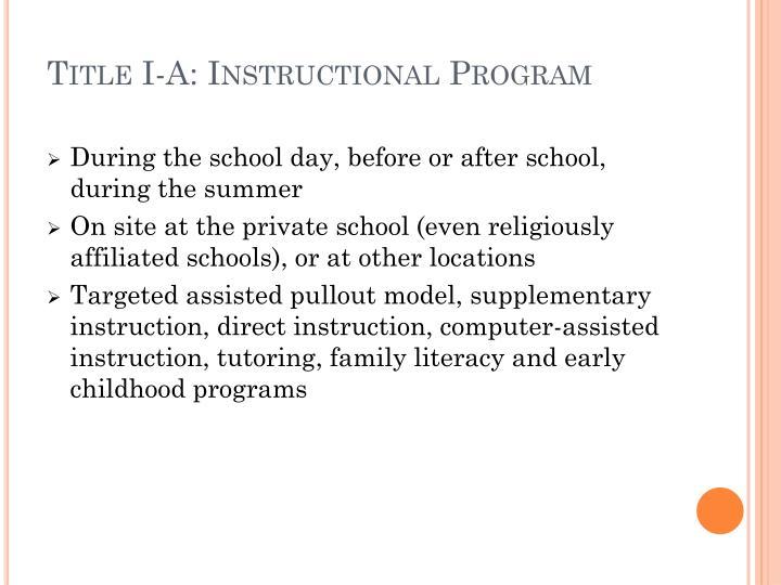 Title I-A: Instructional Program