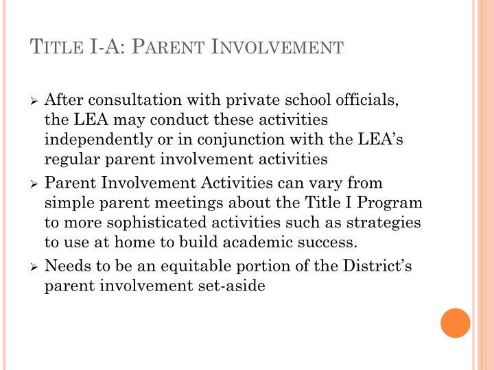 Title I-A: Parent Involvement