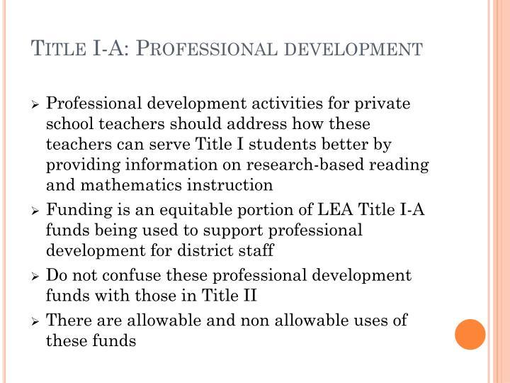 Title I-A: Professional development