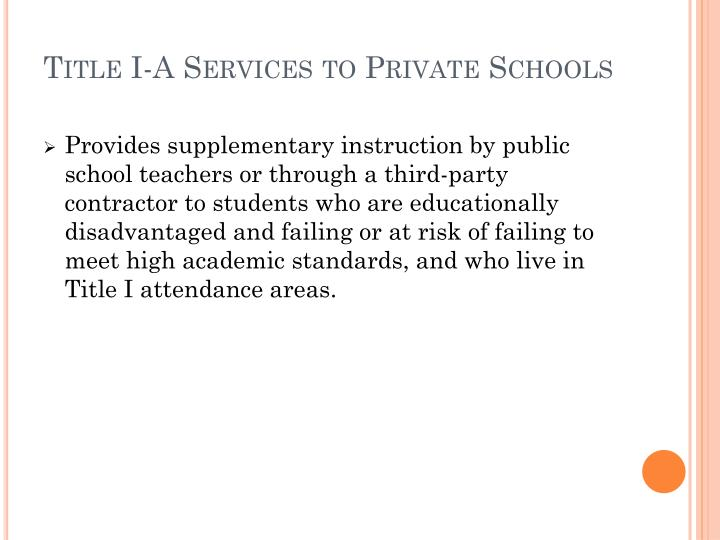 Title I-A Services to Private Schools