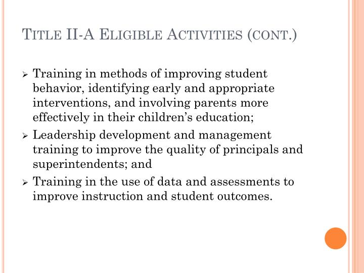 Title II-A Eligible Activities (cont.)