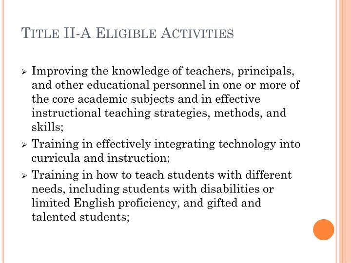 Title II-A Eligible Activities