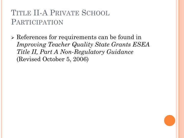 Title II-A Private School Participation