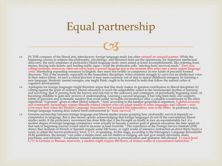 Equal partnership