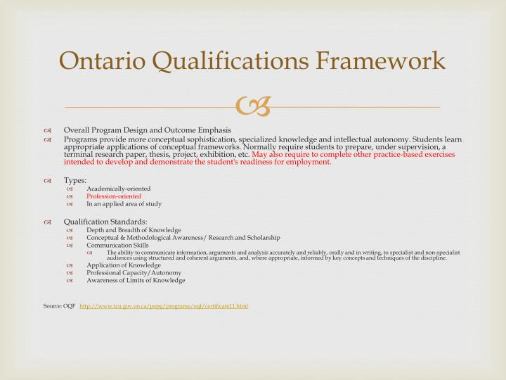 Ontario Qualifications Framework