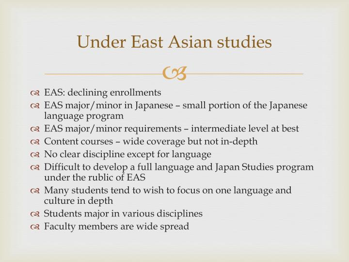 Under East Asian studies