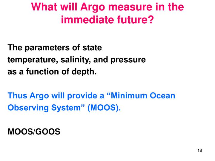 What will Argo measure in the immediate future?