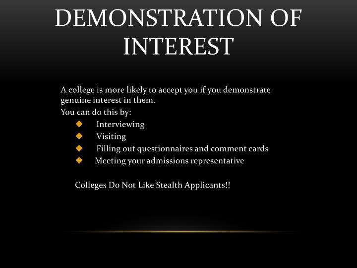 Demonstration of Interest