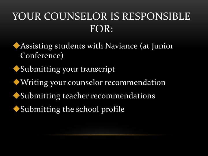 Your Counselor Is Responsible For:
