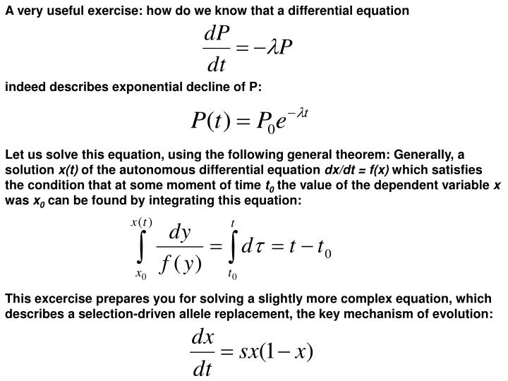 A very useful exercise: how do we know that a differential equation