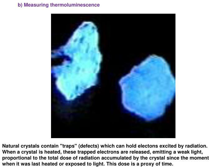 b) Measuring thermoluminescence