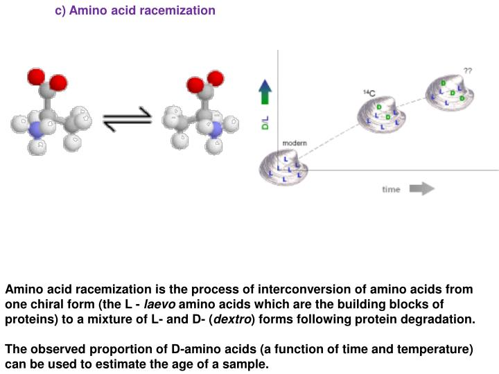 c) Amino acid racemization