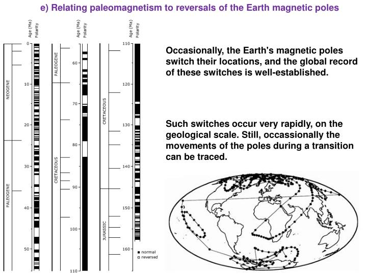 e) Relating paleomagnetism to reversals of the Earth magnetic poles