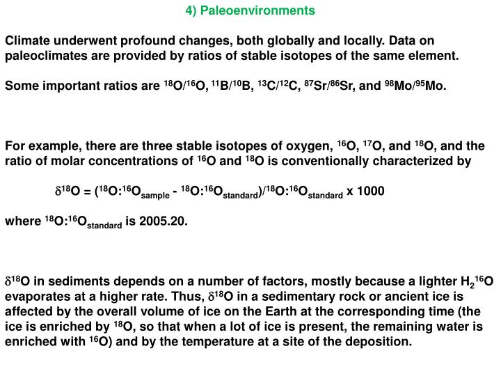4) Paleoenvironments